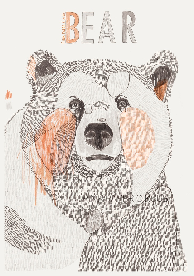 www.pinkpapercircus.com illustration, animals, grizzly bear, pink paper circus, fiona biddington