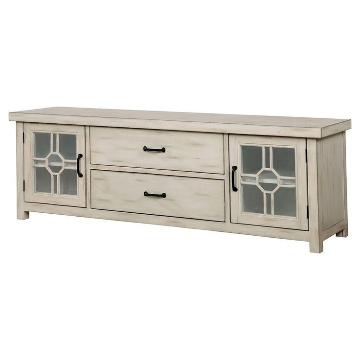 Rhidon Transitional Multi Storage 72 TV Console   Antique White   Furniture  Of America