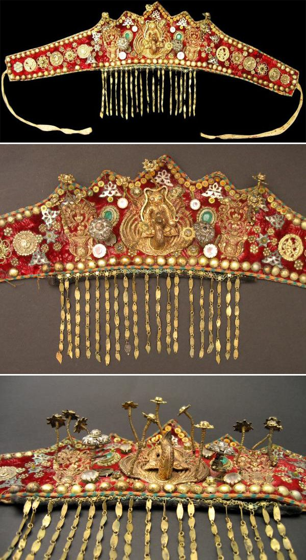 Indonesia ~ South Sumatra | Red cotton ceremonial didem with gilded ornaments. Worn by local Malays but is based on a Chinese wedding headdress. Such headdresses were referred to as Ba Xian by the Straits Chinese community on the Malaysian peninsular, on account of the Ba Xian (eight immortals) who are often depicted on such headdresses. | Late 19th century, Palembang | Sold