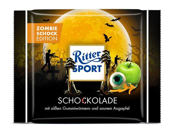 "RITTER SPORT Fake #Schokolade Sorte ""SCHOCKOLADE"" #Zombie Edition an #Halloween"
