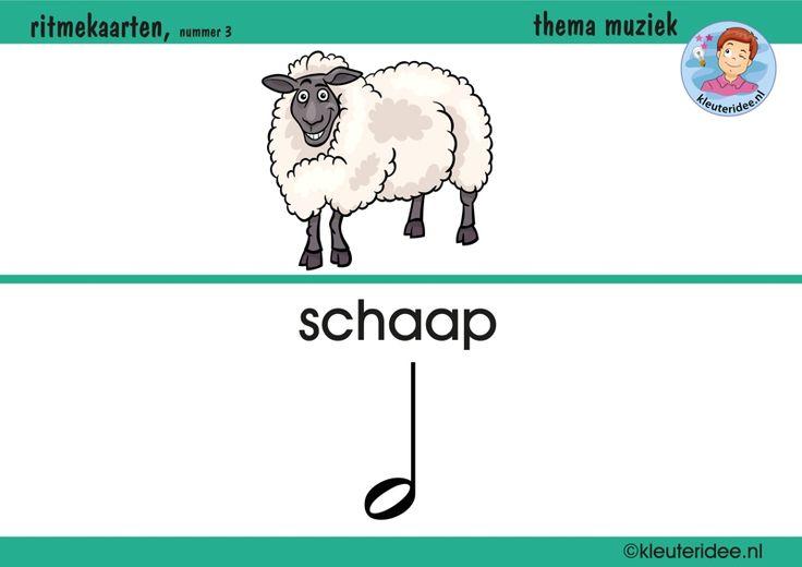 Ritmekaart voor kleuters 3 schaap, thema muziek, kleuteridee.nl, free download