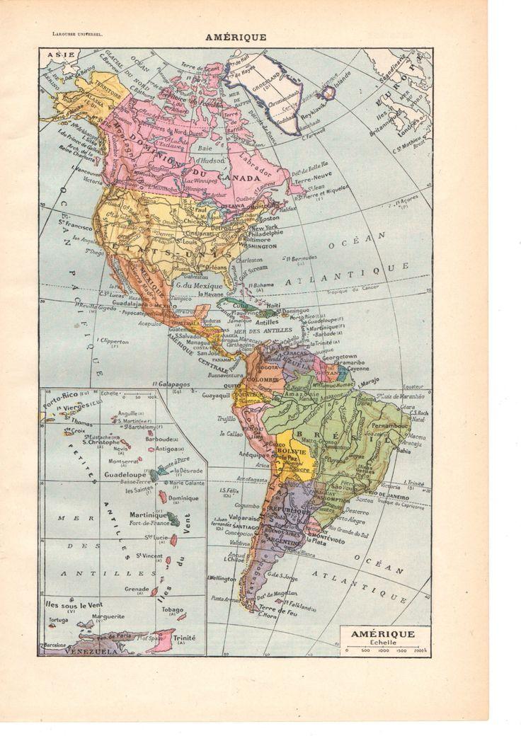 """Illustration vintage couleur """"Carte"""" Amérique"""" Dictionnaire Français  1930/ Digital download de la boutique SoPrettyJoliVintage sur Etsy"""