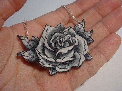 big vintage black and white tattoo rose necklace - something different for a bride!
