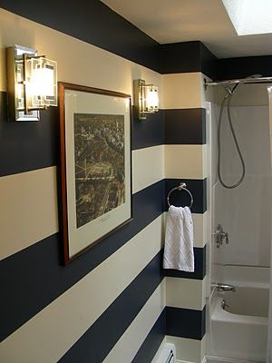 GORGEOUS SHINY THINGS: Before & Afters. Really liking these wide black & white stripes in a bathroom
