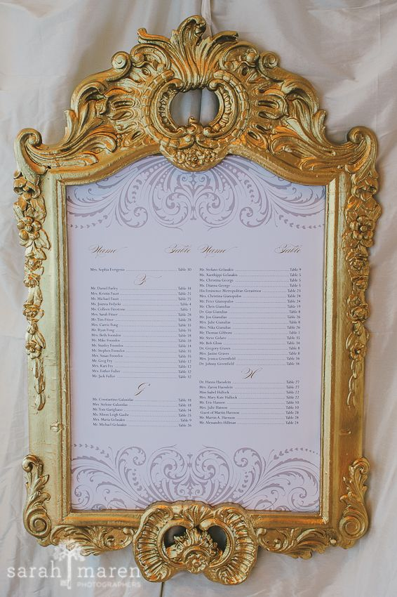 Crocker Art Museum Wedding Photos - gold framed seating chart - Sarah Maren Photographers