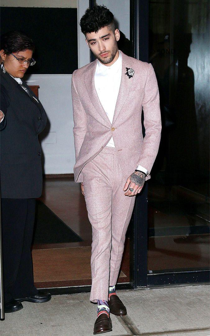 Zayn Malik Wearing A Pink Suit in New York