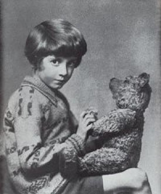 E.H. Shepard's inspiration: Christopher Robin Milne and his bear, Winnie.