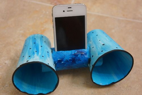 Phone speaker from toilet paper roll and cups- a USEFUL homemade gift kids can make