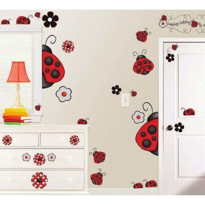 Borders Unlimited 38 Piece Ladybug Super Jumbo Appliqué Wall Decal Set