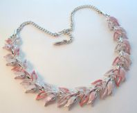 Vintage Lilac And Pink Tulip Flower Adjustable Length Panel Necklace.