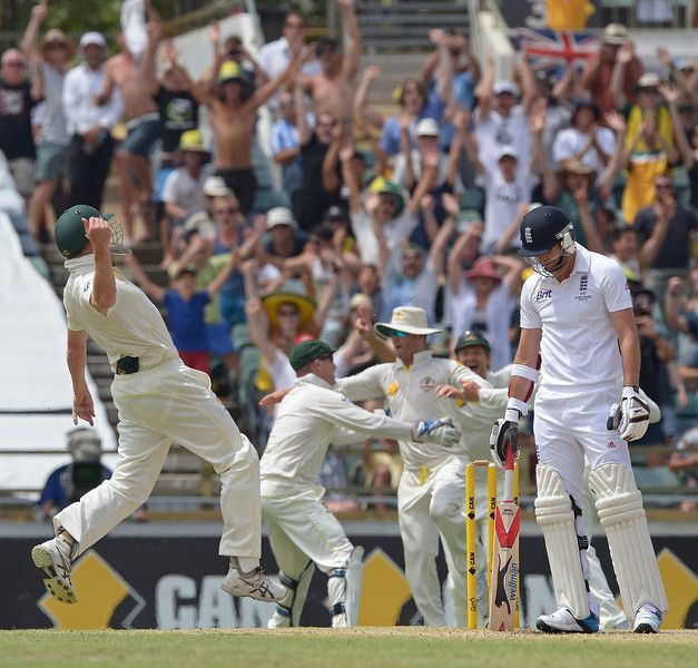 The Australian cricket team celebrate after taking the final wicket to win the Ashes against England in Perth on December 17, 2013. GREG WOOD/AFP/Getty Images