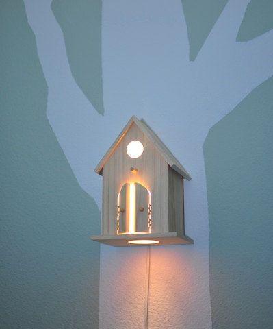 Modern Birdhouse Lamp for Baby Nursery - Peek-a-Boo