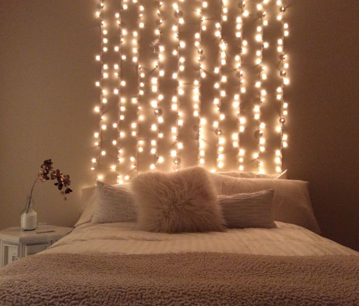 String Lights Headboard Diy : DIY white string light headboard creations Pinterest