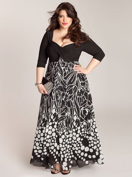 Black Lace Short Sleeve Maxi Dress for Big Size Women with Long Curly Hair with Chubby face
