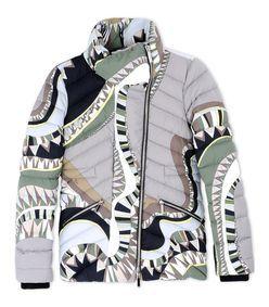 Emilio Pucci: Gray Wool-Blend Down Jacket