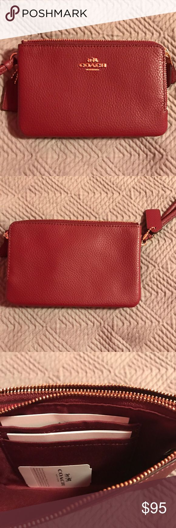 Coach Double Zip Wristlet Coach Double Zip Wristlet Wine Red with Gold Tone logo.  One compartment features two card slots and an open roomy compartment, second compartment can hold lipstick, changes and other daily essentials.  Price Firm!  Comes with Coach gift box and tissue paper. Coach Bags Clutches & Wristlets