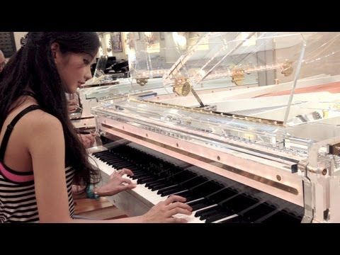 "Alodia - ""To Zanarkand"" on Transparent Light Up Piano Schimmel"