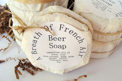 Coffee filters, raffia and circular labels turn these round beer soaps by A Breath of French Air into fantastic little parcels