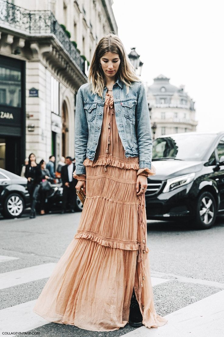 Basically looks like this dress denim jacket converse example - I Love The Idea Of Throwing A Denim Jacket Over A Girly Maxi Dress