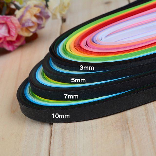 260pcs / beállítva 260 Stripes Dekoratív Crafts Quilling papír szélessége 3mm 5mm 7mm 10mm hossz 39cm Szín DIY kézzel készített kártyák Papír