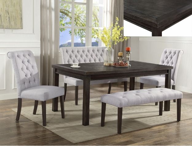 5 pc Palmer dark wood finish dining table set with fabric