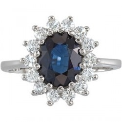 """This elegant and classiic 9MM X 7MM genuine blue sapphire (""""A"""" rated) and diamond ring in 14K gold is a stunning ring."""