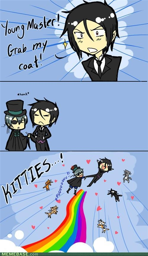 """Black Butler Chibis + Nyan Cat Chibis = SQUEE!!!!!"" - HAHAHAHAHA!!!! My friends gonna love this. KITTIES!!!!!!"
