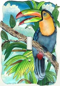 "Toucan Painted Metal Light Switch Plate Cover - 1 Hole - 5"" x 7"" - Tropical Decorating – Painted Metal Tropical Decor – Hand Painted Metal – Haitian Steel Drum Metal Art – Tropical Design – Metal Wall Decor – Caribbean Art – Outdoor Garden Decor -   See more tropical designs at www.TropicAccents.com"