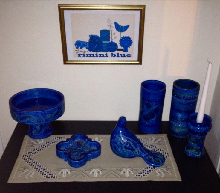My collection of Bitossi Rimini Blu Italian mid-century ceramics designed by Aldo Londi.