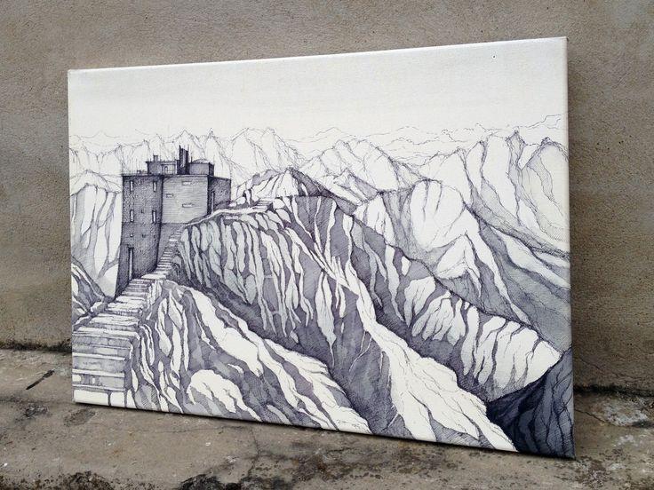 Tatry - kresba na plátno