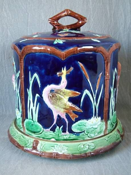Forester Majolica storks & bamboo cheese dome & stand