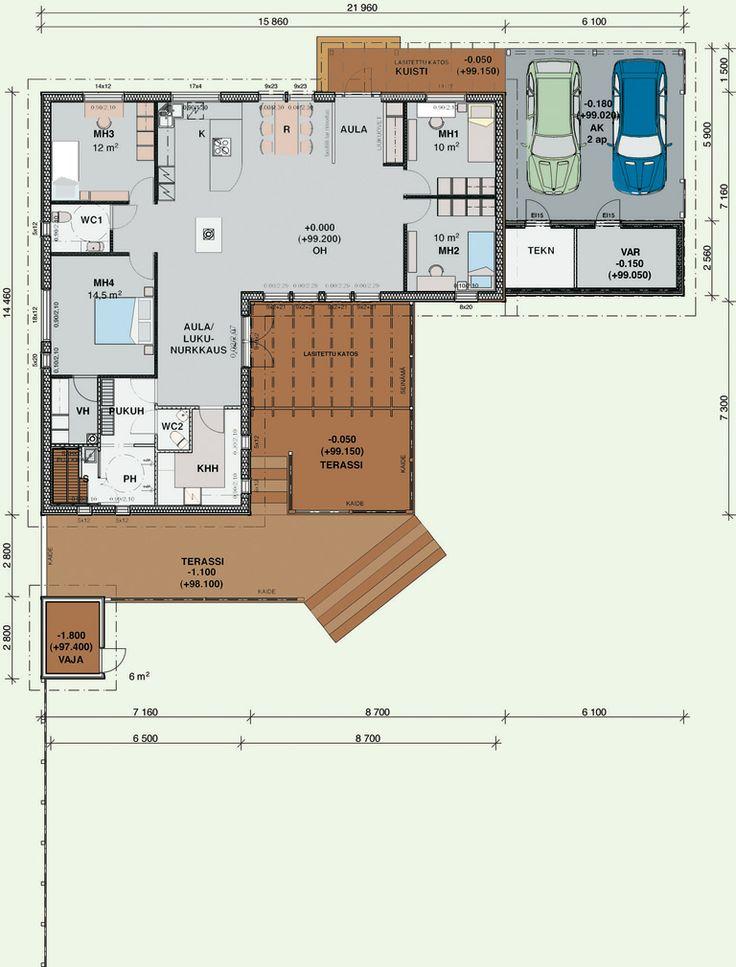 Herrala Talojen Villa Olivia 146 -talomallin pohjapiirros