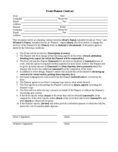 sample contracts for event planners - Google Search
