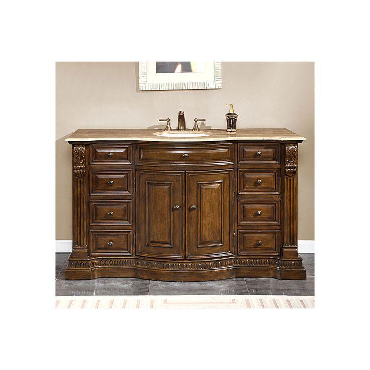 Photo Album Gallery Silkroad Exclusive Single Sink bathroom vanity cabinet Travertine Top Undermount White Ceramic Sinks hole HYP T UWC