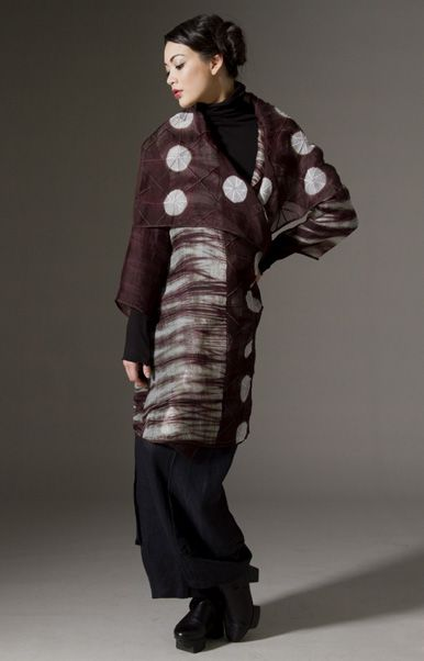 Wearable Art, Amy Nguyen, Artist, silk organza dual-patterned shibori stitched and pieced sheer coat, hand-dyed