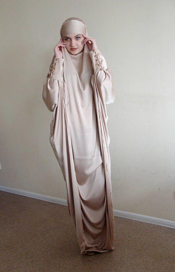 Long Silk Khimar Elegant muslim dress Beige BurqaDubai