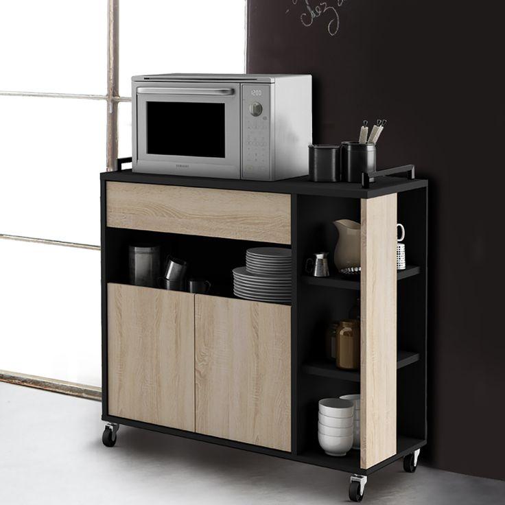 Articolo: 13CASADEF00361809002La combinazione di rovere e nero rende questo carrellino cucina elegante e moderno. E' dotato pratiche ruote per essere comodamente trasportato, due ante con mensola, un cassetto e quattro nicchie portaoggetti.