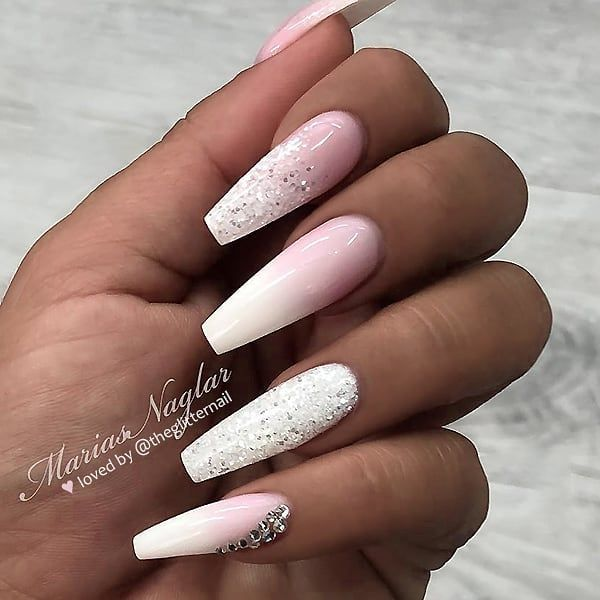 French Ombre Glitter And Crystals On Long Coffin Nails Nail Artis Coffin Nails Designs Ombre Nails Glitter Mauve Nails