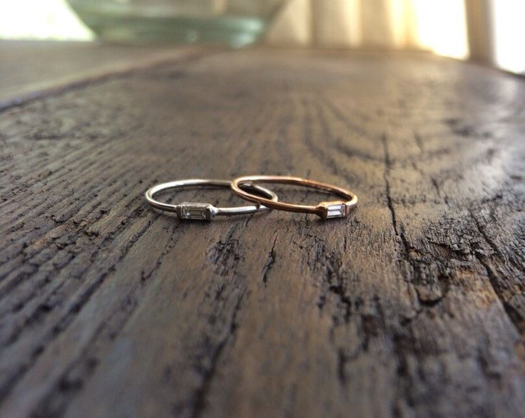 Diamond Baguette Ring, Diamond Baguette, Diamond Band, Wedding Band, Promise Ring, Stacking Ring, 14k Gold Band, Baguette Ring, Dainty  Ring by charlieandmarcelle on Etsy https://www.etsy.com/listing/223855782/diamond-baguette-ring-diamond-baguette