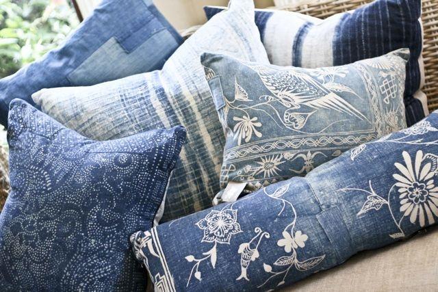 vintage indigo pillows