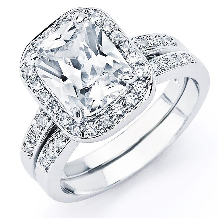 oliveti sterling silver radiant cubic zirconia bridal style ring set overstockcom shopping - Overstock Wedding Rings