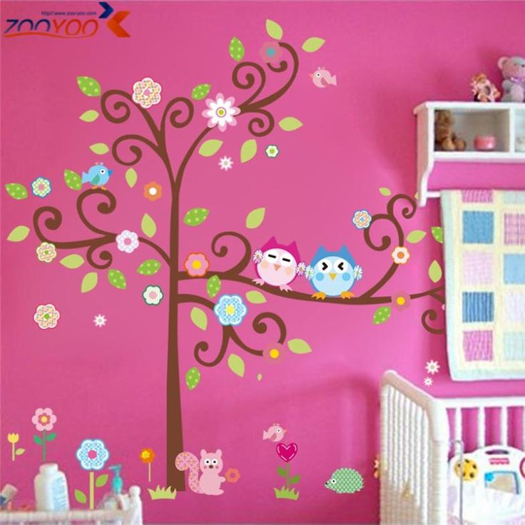 cute wise owls tree wall stickers for kids room decorations nursery cartoon children decals pvc animal wall decal diy zooyoo1015