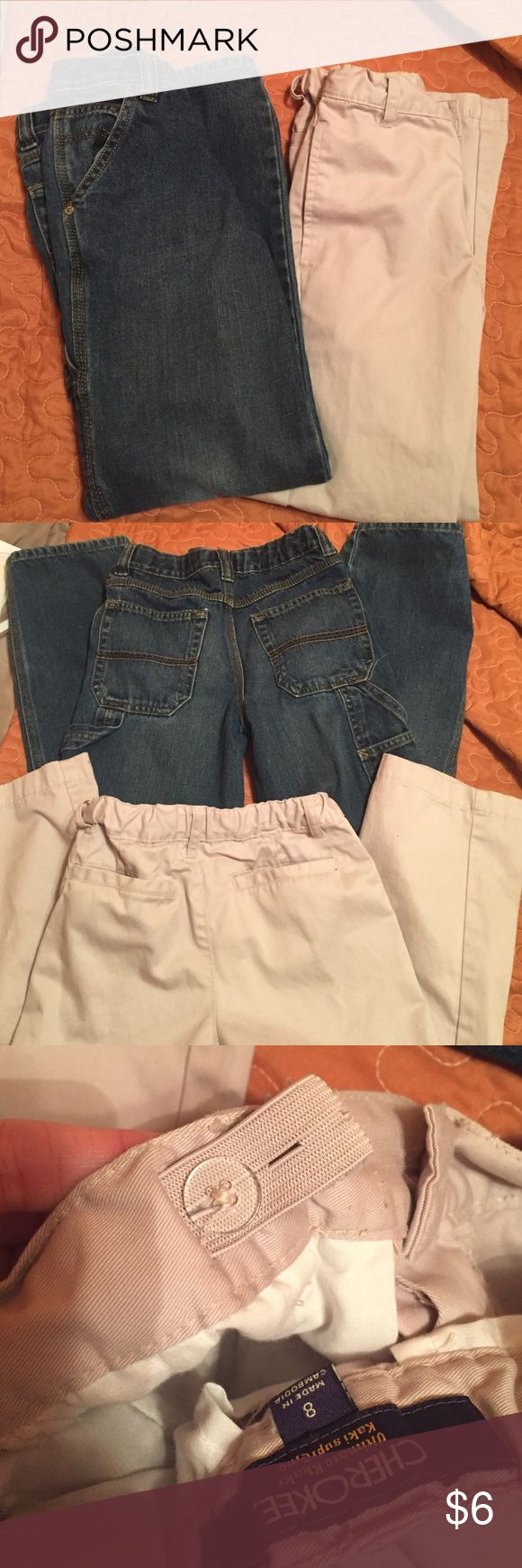 Boys Pant Bundle 2 pair Cargo jeans from children's place, khakis Cherokee brand from JCPenny, both size 8, good condition. Children's Place Bottoms Jeans