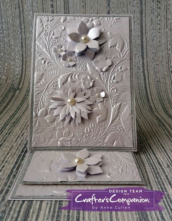 8x6 easel card made using Crafter's Companion 3D Embossing Folder – Country Garden Designed by Anne Cullen #crafterscompanion