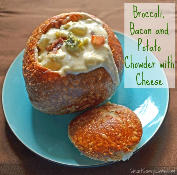 Broccoli, bacon and potato chowder with cheese - perfect easy dinner recipe for fall and winter!