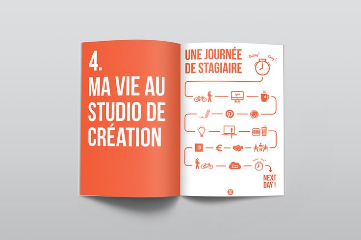 Durant mon stage de fin d'étude à la Helha, j'ai réalisé un rapport de stage à l'image du studio de création où je l'avais effectué.