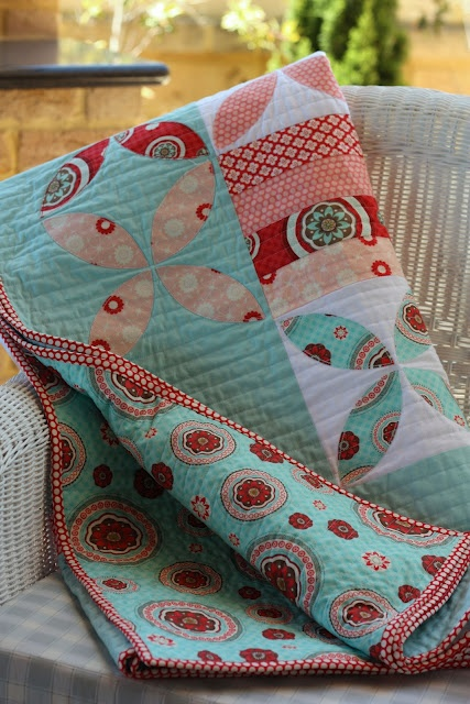 aqua, red, pink & white quilt