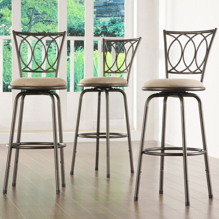 Avalon Scroll Adjustable Swivel High Back Counter Barstool by TRIBECCA HOME Set of 3 by INSPIRE Q
