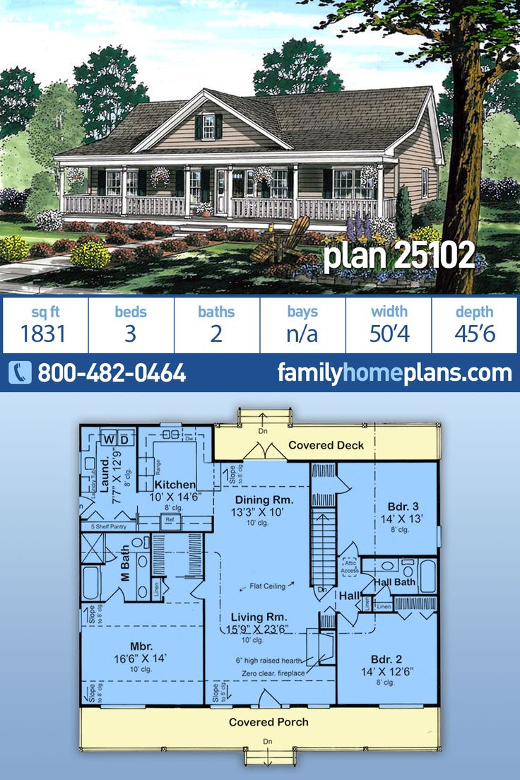 Country Ranch Home Plan 25102 has 1831 sq ft, 3 Beds, 2 Baths, Large Laundry Room, Affordable Design