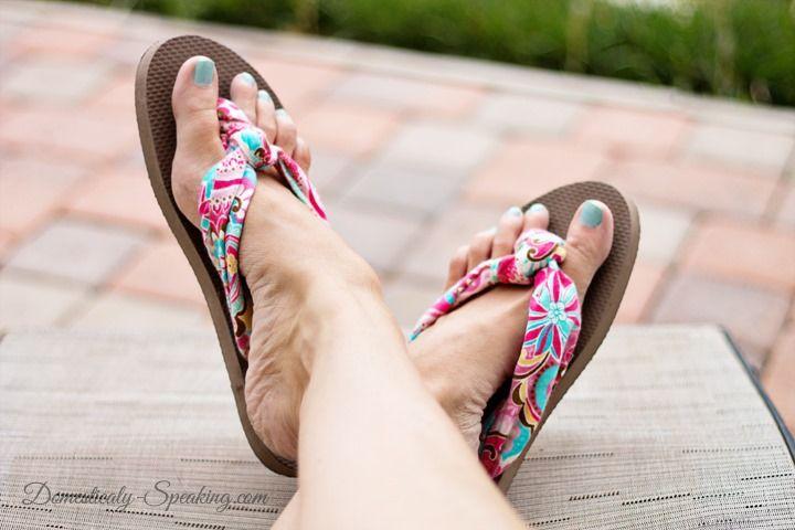 Cute knot-tied fabric flip flops from cheap flip flops